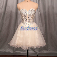 Short champagne tulle homecoming dress,cheap prom dresses with rhinestones,cute women gowns for holiday party.