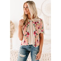 Social Scene Floral & Chain Printed Short Sleeve Top (Ivory/Peach)