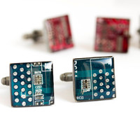 Circuit board Cuff links - Geek cufflinks - computer cufflinks - square, antique silver, resin