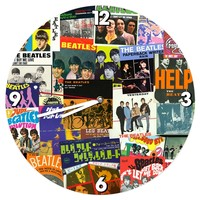 Beatles Album Covers Collage Wood Wall Clock