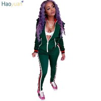 HAOYUAN Two Piece Set Autumn Winter Zipper Jacket Top And Side Striped Pants Green Fitness Outfit Casual Suits Women Tracksuit