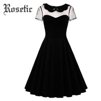 Rosetic Gothic Dress Summer Women Black A-Line Casual Dresses Poly Spun Velour Hollow Goth Girl Party Fashion Young Gothic Dress