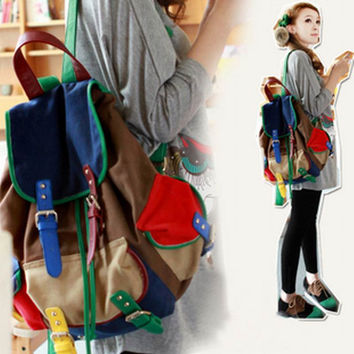 2016 hot sale color block fashion element student school bag patchwork casual backpack canvas bag backpack female bags