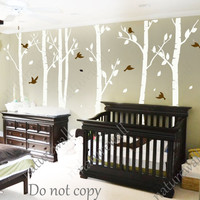 Tree Decals nursery decals Kids wall decals baby decal  room decor wall decor wall art birch decals-birds in Birch forest