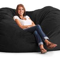Wide-Wale Corduroy Black 7 Ft Xxl Fuf Chair