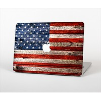 The Wooden Grungy American Flag Skin Set for the Apple MacBook Air 13""