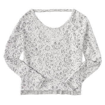 Long Sleeve Floral Reverse Burnout Top