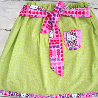 Girls Skirt Bright Daisy Lime and Hello by BabyBlanketsAndETC