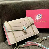 Bvlgari High Quality Women Leather Metal Chain Satchel Crossbody Shoulder Bag Apricot