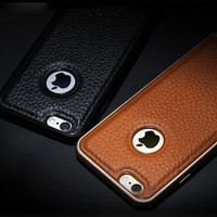 Aluminum Bumper Cover For iPhone 6 Plus Luxury GENUINE LEATHER Back Case = 1931715204