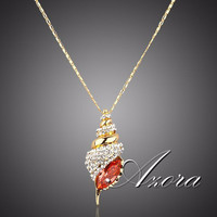 Fancy Conch Shell  Padparascha  Austrian Crystal Paved  Necklace