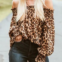 New Brown Leopard Print Off Shoulder Long Sleeve Fashion Blouse