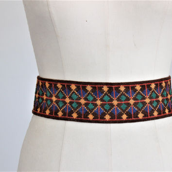 Vintage 1920s Wide Belt, Native American Style
