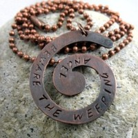 Beware the Weeping Angel - Antiqued Copper Spiral Pendant