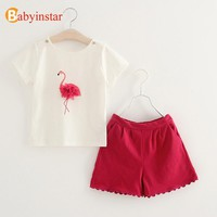 Girl's Summer Two-Piece Pink Flamingo Short Set