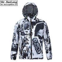 2017 Hip Hop Brand Waterproof 3D Jacket Men Trench Clothes Outwear Cool Coats Modern Times Black and White Retro Windbreaker