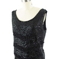 60s Black Sequin Fringe Tank Top