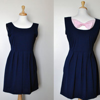 ELISE (Navy) : Navy blue dress with pockets, vintage inspired, pleated skirt, back cut out, chiffon pink bow, party, day, bridesmaid