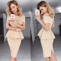 Off Shoulde Pure Color Short Sleeves Short Lovely Dress
