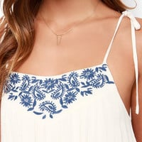 Fields and Dreams Cream Embroidered Dress