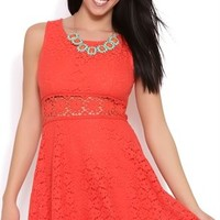 Skater Dress with Lace Bodice and Daisy Crochet Illusion Waist