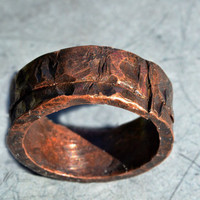 Thick Rugged Copper Ring, Grooves and Indentations, Dark Oxidized Finish, Men's Sturdy Ring Band, Gift For Him, Special Occasion Jewelry