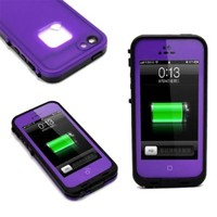 Aria NEW Life Waterproof Shock/Dirt/Snow Proof Durable Case Cover for iPhone 5 5s Generation with Headphone Adapter, Cloth (Purple)