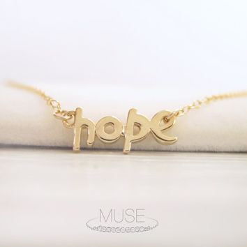 Hope Necklace - 14k Gold Filled Necklace, Hope Word Necklace, Dainty Gold Necklace, Delicate Necklace, Simple Jewelry, Letter Necklace