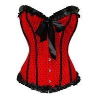 Bslingerie Womens Boned Corset with Black Ribbon and Dots Red Size: XL