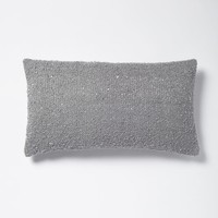 Boucle Sequin Pillow Cover - Feather Gray/Silver