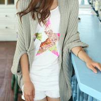 Light Gray Collarless Dolman Sleeve Cardigan
