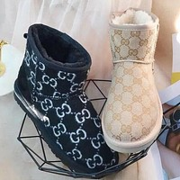 UGG G Fashion New Letter Embroidered Low-Cut Ladies Snow Boots Shoes