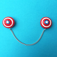 """Handmade """"Captain America"""" Shield Inspired Sweater or Collar Clips - Red White and Bloom Collection Super Hero Comic"""