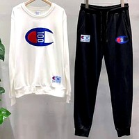 Champion Tide brand men and women embroidery letter sports set two-piece