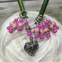 Strawberry Stitch Marker Set- 9 Pieces- Knitting Gift