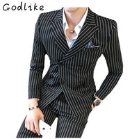 GODLIKE  Double-breasted men's striped three-piece suit, fashionable and casual large size suit.Personalized wedding suit