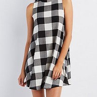 GINGHAM TRAPEZE DRESS
