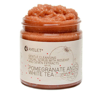 Pomegranate and White Tea Facial Cleansing Scrub with Rosehip Avocado and Seven Extracts, Natural, Organic, Gentle, Vegan