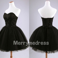 Retro Beads Black Sweetheart Strapless Lace-up Gown Bowknot Celebrity Dress, Tulle Formal Evening Party Events Prom Dress Homecoming Dress