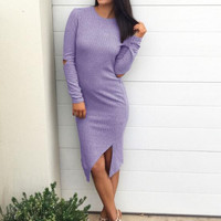 Purple Ribbed Irregular Hem Slim Dress B0013534