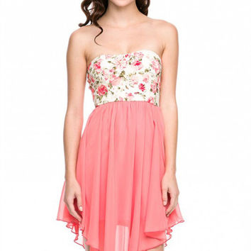 Dress - Botanic Blossoms Floral Strapless Dress in Coral