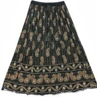 Womens Gypsy Skirt Black Paisley Print Sequin Boho Hippie Long Skirts: Amazon.com: Clothing