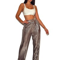 Veronique Metallic Pleated Wide Leg High Waisted Pants