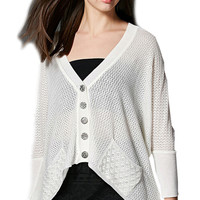 Solid Loose Fit Batwing Knit Long Cardigan for Women