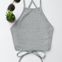 Open Back Cropped Tank Top
