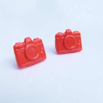Tangerine Camera Stud Earrings - Orange Retro Style Camera Post Earrings - Custom Colors Available - Polymer Clay