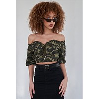 Camouflage Off The Shoulder Crop Top | Olive