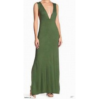 Velvet Torch Green V-neck Plunge Knit Maxi Dress, Size M