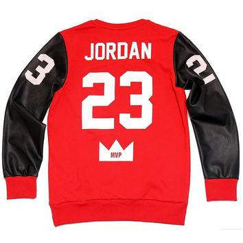 Red Jordan Bicolor Jumper Black Leather Long Sleeves T-shirts Two Tone Pullover