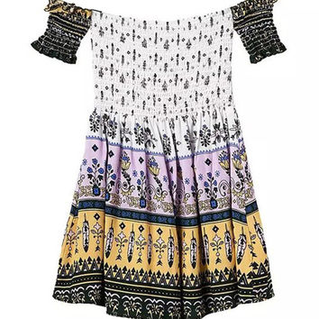 Printed Off-shoulder Pleated Romper with Ruffled Sleeve